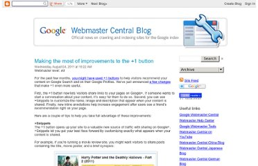 http://googlewebmastercentral.blogspot.com/2011/08/making-most-of-improvements-to-1-button.html