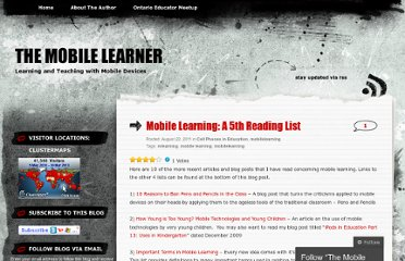 http://themobilelearner.wordpress.com/2011/08/22/mobile-learning-a-5th-reading-list/