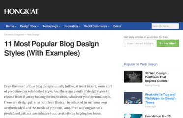 http://www.hongkiat.com/blog/11-most-popular-blog-design-styles-with-examples/