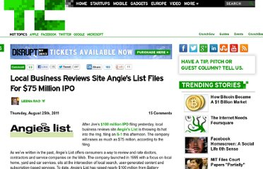 http://techcrunch.com/2011/08/25/local-reviews-site-angies-list-files-for-75-million-ipo/