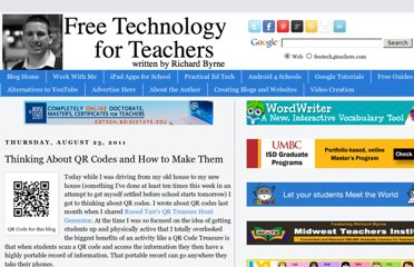http://www.freetech4teachers.com/2011/08/thinking-about-qr-codes.html