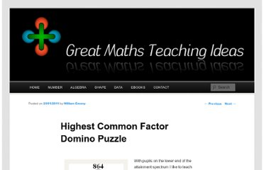 http://www.greatmathsteachingideas.com/2011/01/20/highest-common-factor-domino-puzzle/