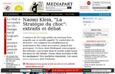 http://www.mediapart.fr/journal/international/040508/naomi-klein-la-strategie-du-choc-extraits-et-debat