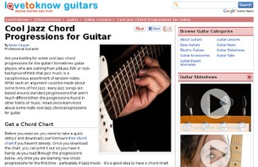 http://guitar.lovetoknow.com/Cool_Jazz_Chord_Progressions_for_Guitar