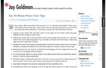 http://jaygoldman.com/2008/12/top-10-iphone-power-user-tips/