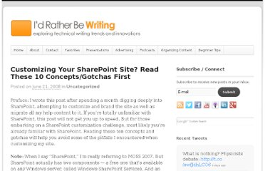 http://idratherbewriting.com/2008/06/21/customizing-your-sharepoint-site-read-these-10-conceptsgotchas-first/