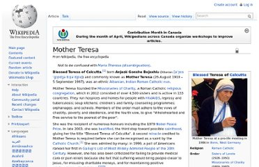 http://en.wikipedia.org/wiki/Mother_Teresa