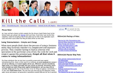 http://www.killthecalls.com/suing-telemarketers.html