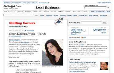 http://shiftingcareers.blogs.nytimes.com/2008/03/23/smart-eating-at-work-part-3/