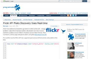 http://blog.programmableweb.com/2011/08/24/flickr-api-photo-discovery-goes-real-time/