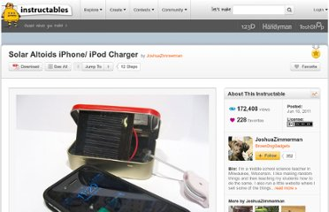 http://www.instructables.com/id/Solar-Altoids-iPhone-iPod-Charger/