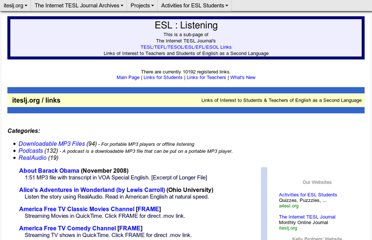 http://iteslj.org/links/ESL/Listening/
