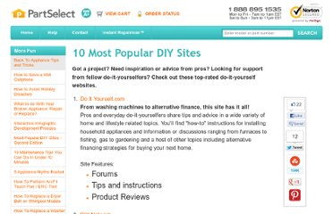 http://www.partselect.com/JustForFun/Ten-Most-Popular-DIY-Sites.aspx