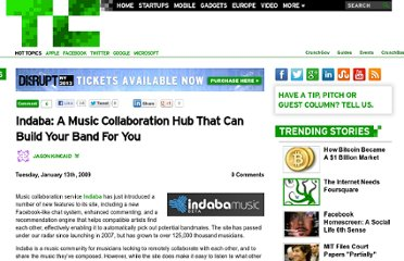 http://techcrunch.com/2009/01/13/indaba-a-music-collaboration-hub-that-can-build-your-band-for-you/