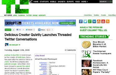 http://techcrunch.com/2009/08/11/delicious-creator-quietly-launches-threaded-twitter-conversations/