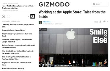 http://gawker.com/5812622/working-at-the-apple-store-tales-from-the-inside