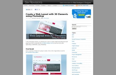 http://sixrevisions.com/tutorials/photoshop-tutorials/create-a-web-layout-with-3d-elements-using-photoshop/