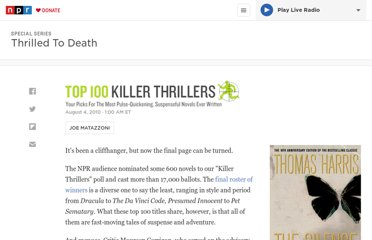 http://www.npr.org/2011/06/13/128718927/audience-picks-top-100-killer-thrillers
