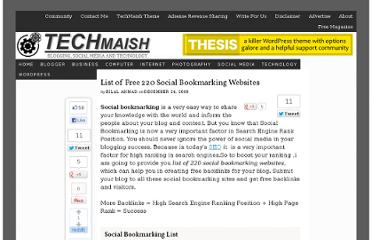 http://www.techmaish.com/list-of-free-220-social-bookmarking-websites/
