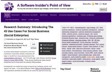 http://blog.softwareinsider.org/2011/08/28/research-summary-introducing-the-43-use-cases-for-social-business-social-enterprise/