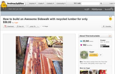 http://www.instructables.com/id/How-to-build-an-Awesome-Sidewalk-with-recycled-lum/
