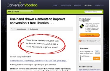 http://www.conversionvoodoo.com/blog/2010/08/use-hand-drawn-elements-to-improve-conversion-free-libraries/