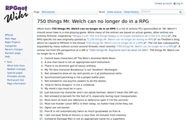 http://wiki.rpg.net/index.php/750_things_Mr._Welch_can_no_longer_do_in_a_RPG