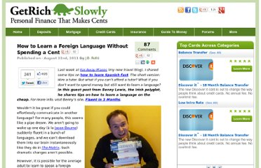http://www.getrichslowly.org/blog/2011/08/22/how-to-learn-a-foreign-language-without-spending-a-cent/