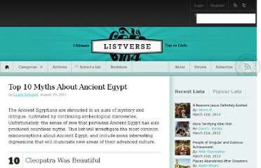 http://listverse.com/2011/08/29/top-10-myths-about-ancient-egypt/