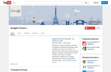 http://www.youtube.com/user/GoogleFrance#p/c/B197B3BE8F1E3487