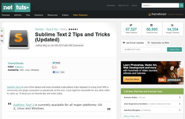 http://net.tutsplus.com/tutorials/tools-and-tips/sublime-text-2-tips-and-tricks/