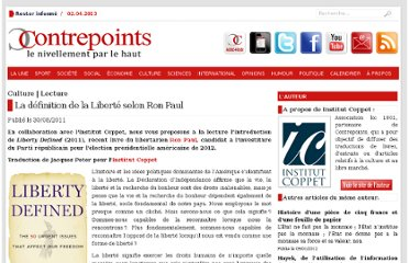 http://www.contrepoints.org/2011/08/30/42949-la-definition-de-la-liberte-selon-ron-paul