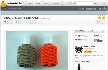 http://www.instructables.com/id/PARACORD-GERM-GRENADE/