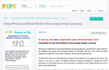 http://p2pu.org/en/groups/using-web-20-and-social-media-to-encourage-deeper-learning/content/syllabus/