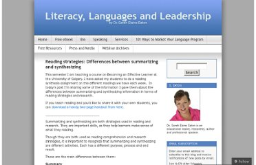 http://drsaraheaton.wordpress.com/2010/09/29/reading-strategies-differneces-between-summarizing-and-synthesizing/