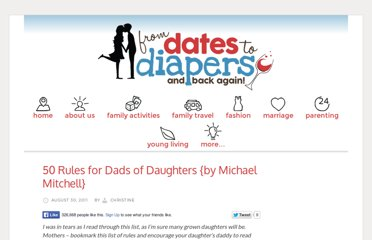 http://www.fromdatestodiapers.com/50-rules-for-dads-of-daughters/