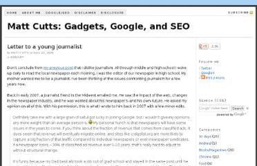 http://www.mattcutts.com/blog/letter-to-a-young-journalist/