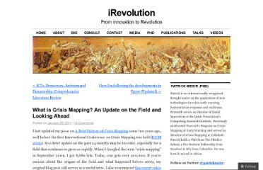 http://irevolution.net/2011/01/20/what-is-crisis-mapping/