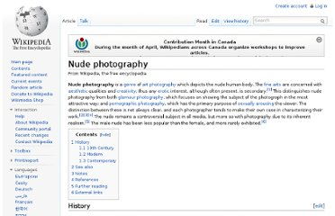 Nude photography should also be distinguished from erotic photography ...