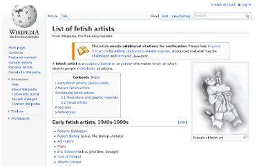 http://en.wikipedia.org/wiki/List_of_fetish_artists