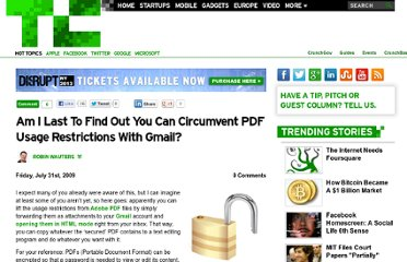 http://techcrunch.com/2009/07/31/am-i-last-to-find-out-you-can-circumvent-pdf-usage-restrictions-with-gmail/