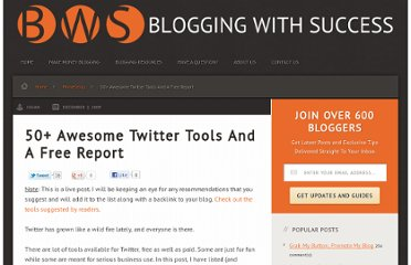 http://bloggingwithsuccess.net/50-awesome-twitter-tools/