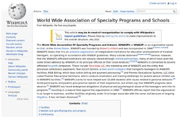 http://en.wikipedia.org/wiki/World_Wide_Association_of_Specialty_Programs_and_Schools