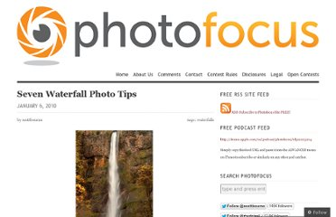http://photofocus.com/2010/01/06/seven-waterfall-photo-tips/