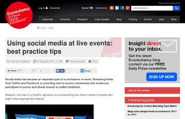 http://econsultancy.com/uk/blog/7943-using-social-media-at-live-events-best-practice-tips