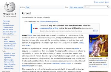 http://en.wikipedia.org/wiki/Greed