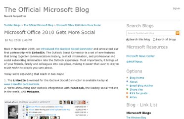 http://blogs.technet.com/b/microsoft_blog/archive/2010/02/16/microsoft-office-2010-gets-more-social.aspx