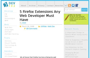 http://www.dev102.com/2008/03/30/5-firefox-extensions-any-web-developer-must-have/