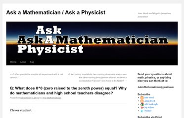 http://www.askamathematician.com/2010/12/q-what-does-00-zero-raised-to-the-zeroth-power-equal-why-do-mathematicians-and-high-school-teachers-disagree/
