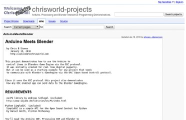 http://code.google.com/p/chrisworld-projects/wiki/ArduinoMeetsBlender